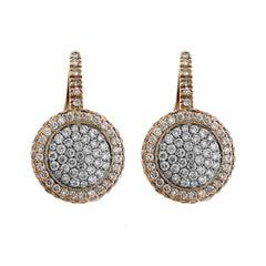 Rot und weiß zweifarbiges Gold Pavé-Set runde Diamant Ohrringe