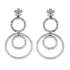Multi-Circle Diamond and White Gold Drop Earrings