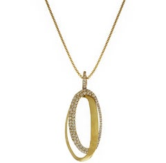 Diamond and Yellow Gold Interlocking Oval Pendant Necklace