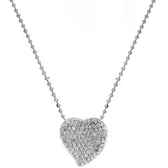 Diamond Heart Pendant White Gold Necklace with Ball Chain