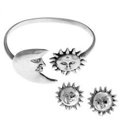 Sterling Silver Bracelet and Earring Set Sergio Bustamante Sun and Moon