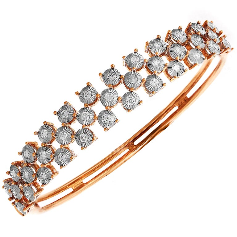 Rose and White Gold Diamond Checkered Bracelet In New Condition In Boca Raton, FL