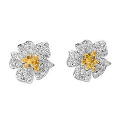 Stambolian Floral Yellow and White Diamond Gold Stud Earrings