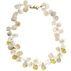 Stambolian Keshi Pearl Yellow Gold and Diamond Necklace