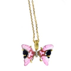Stambolian Bicolor Tourmaline Yellow Gold and Diamond Butterfly Pendant Necklace
