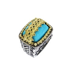 Sleeping Beauty Turquoise Sterling Silver and Gold Ring Stambolian