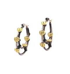 Stambolian Silver and Gold Hoop Earrings with Hearts