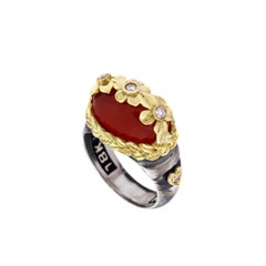 Carnelian and Diamond Floral Ring with Sterling Silver and Gold Stambolian