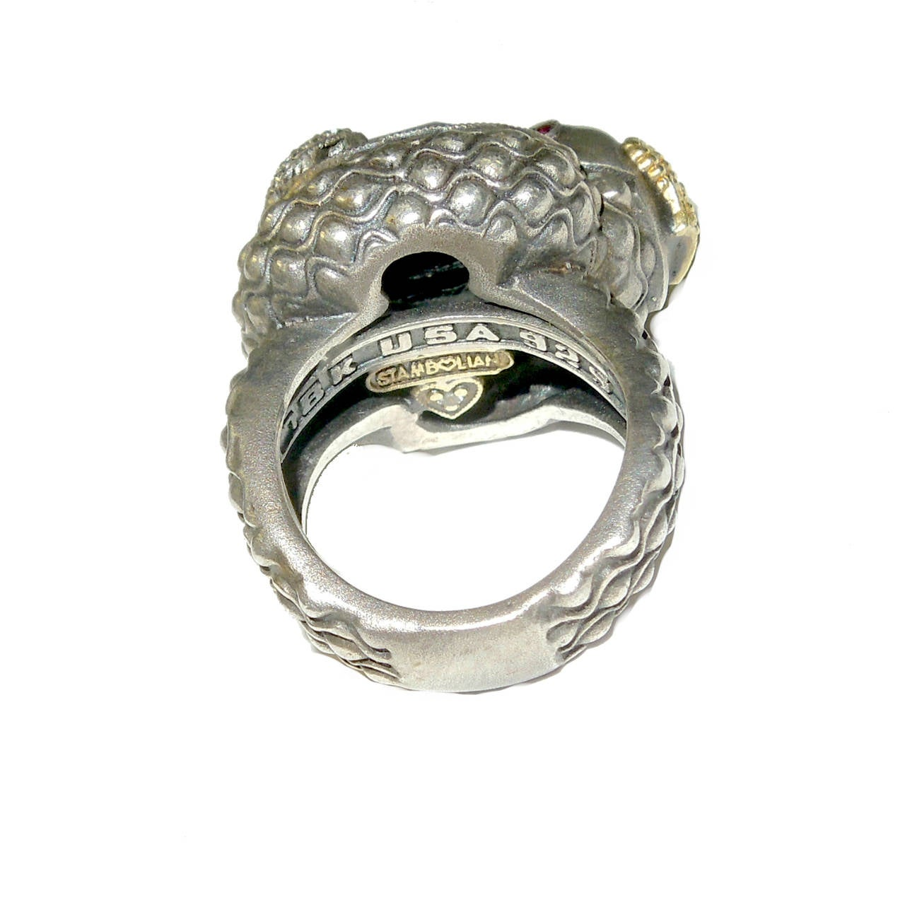 silver snake ring with black onyx center for sale at 1stdibs