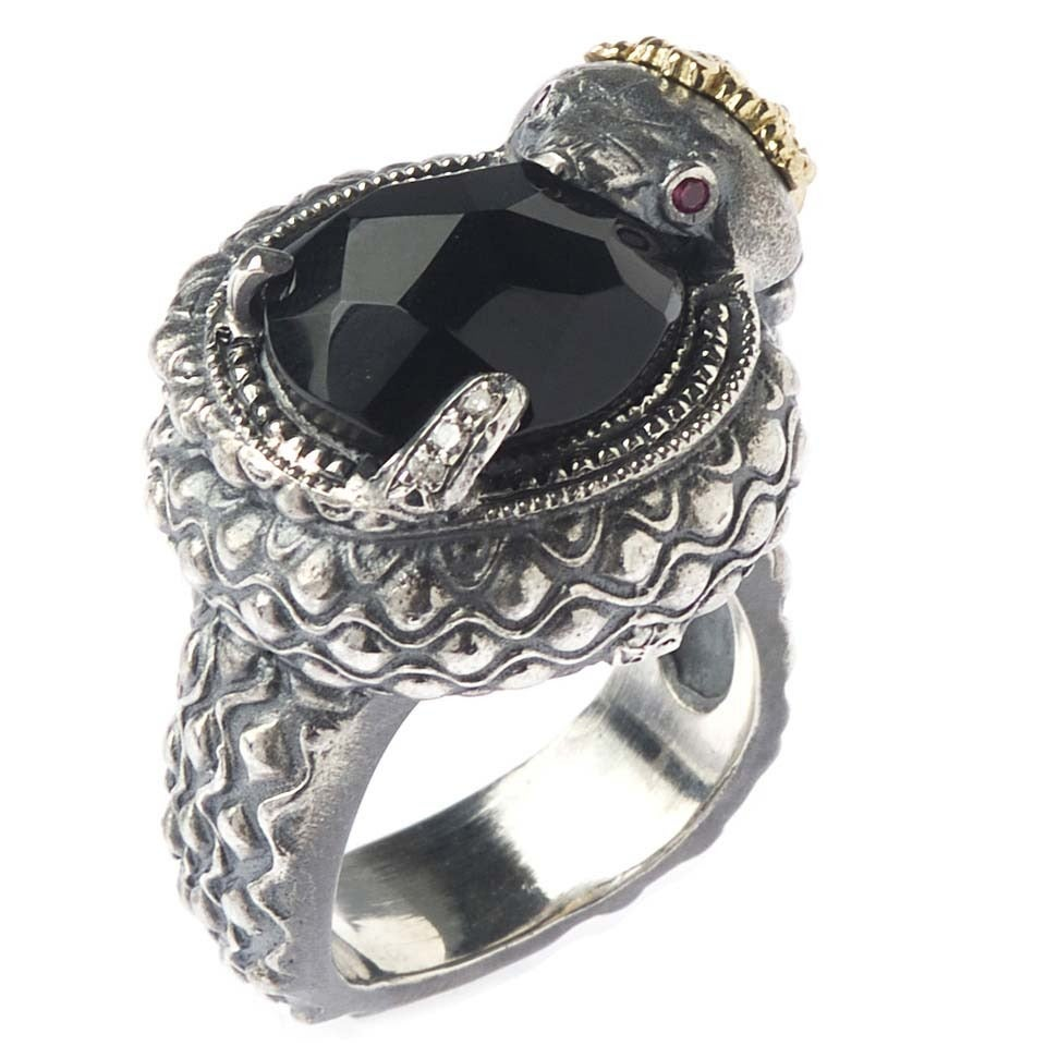 silver snake ring with black onyx center at 1stdibs