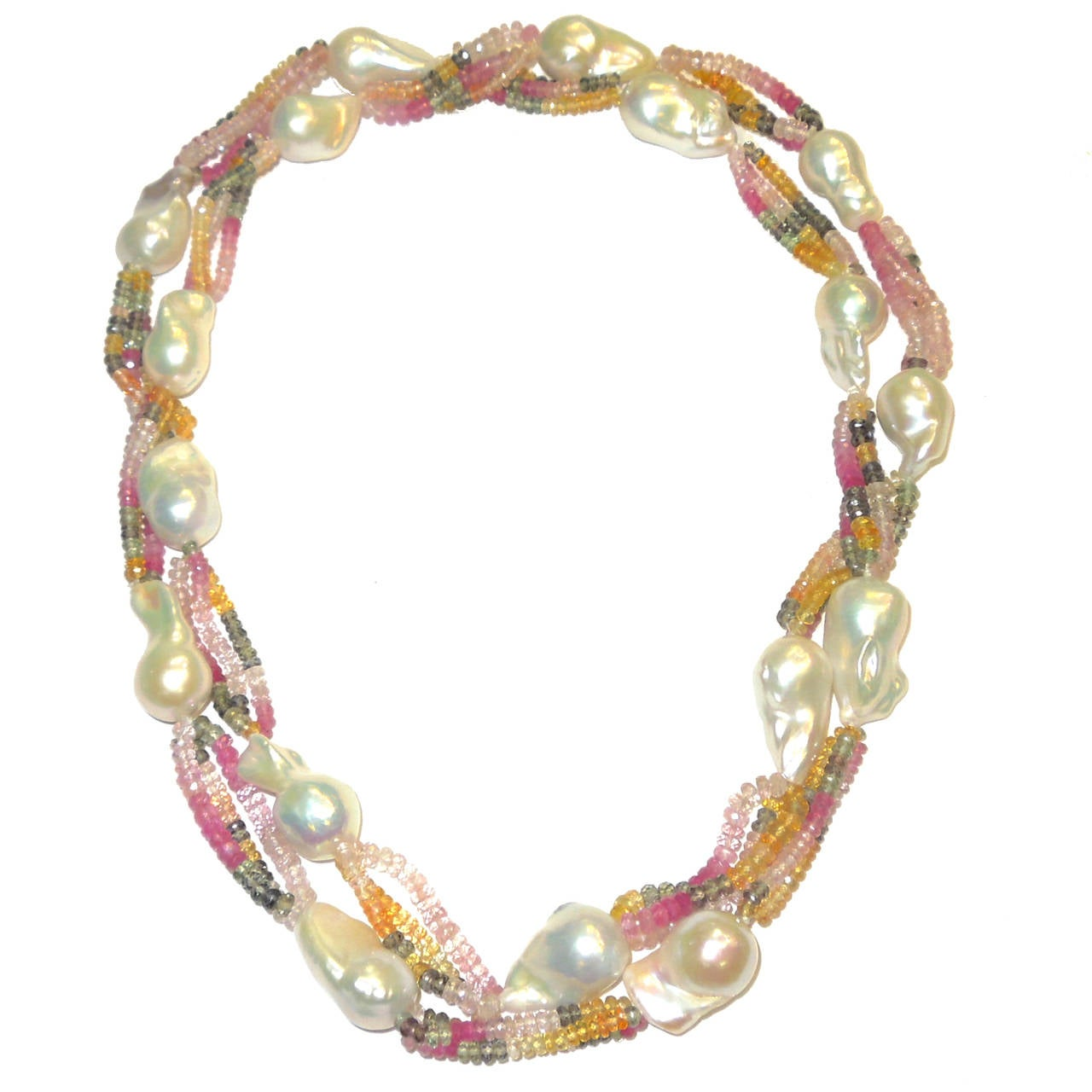 Multicolor Sapphire Bead Baroque Pearl Long Necklace 2