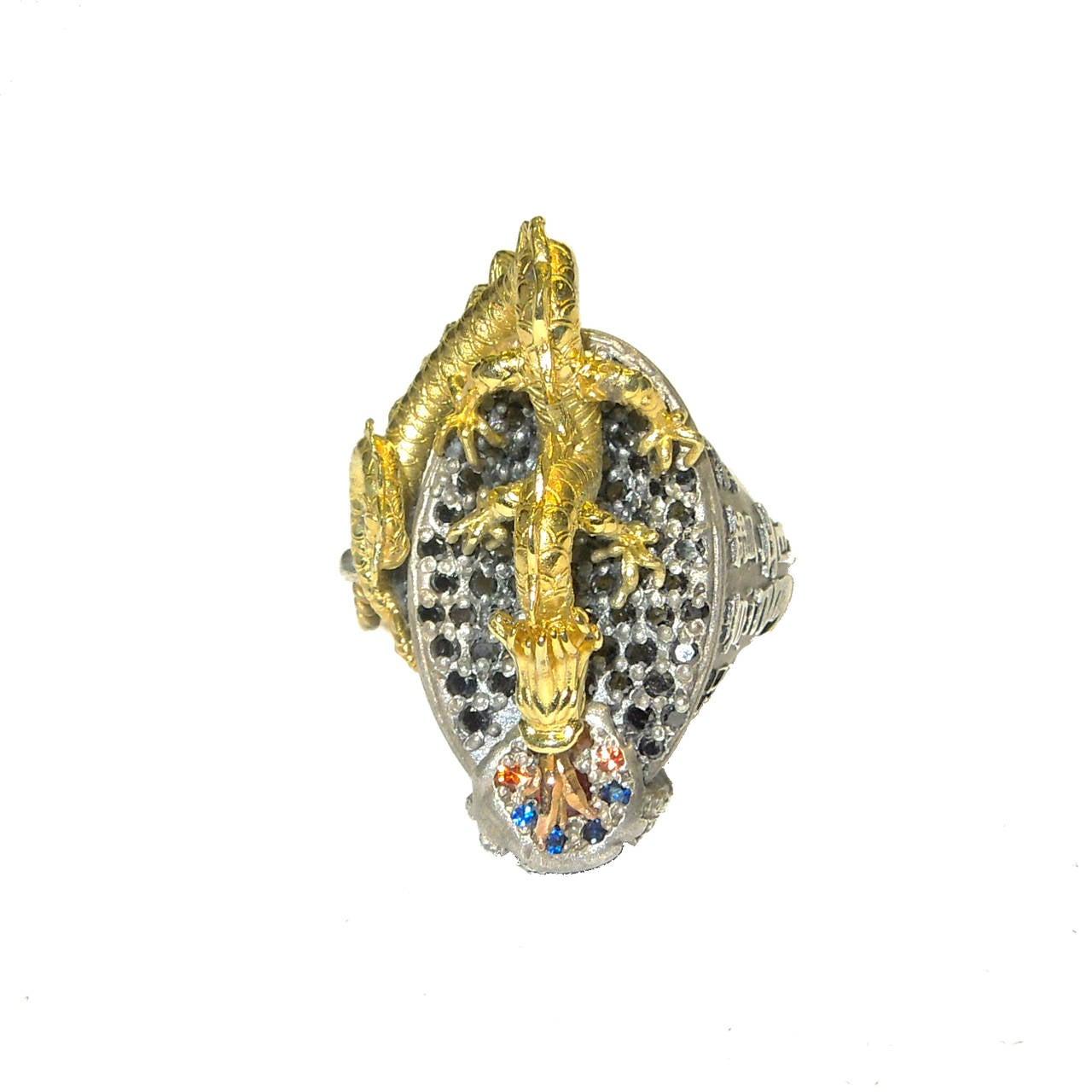 Stambolian Dragon Diamond Silver Gold Ring 4