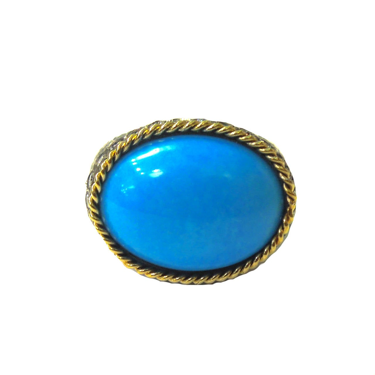 turquoise silver gold ring at 1stdibs