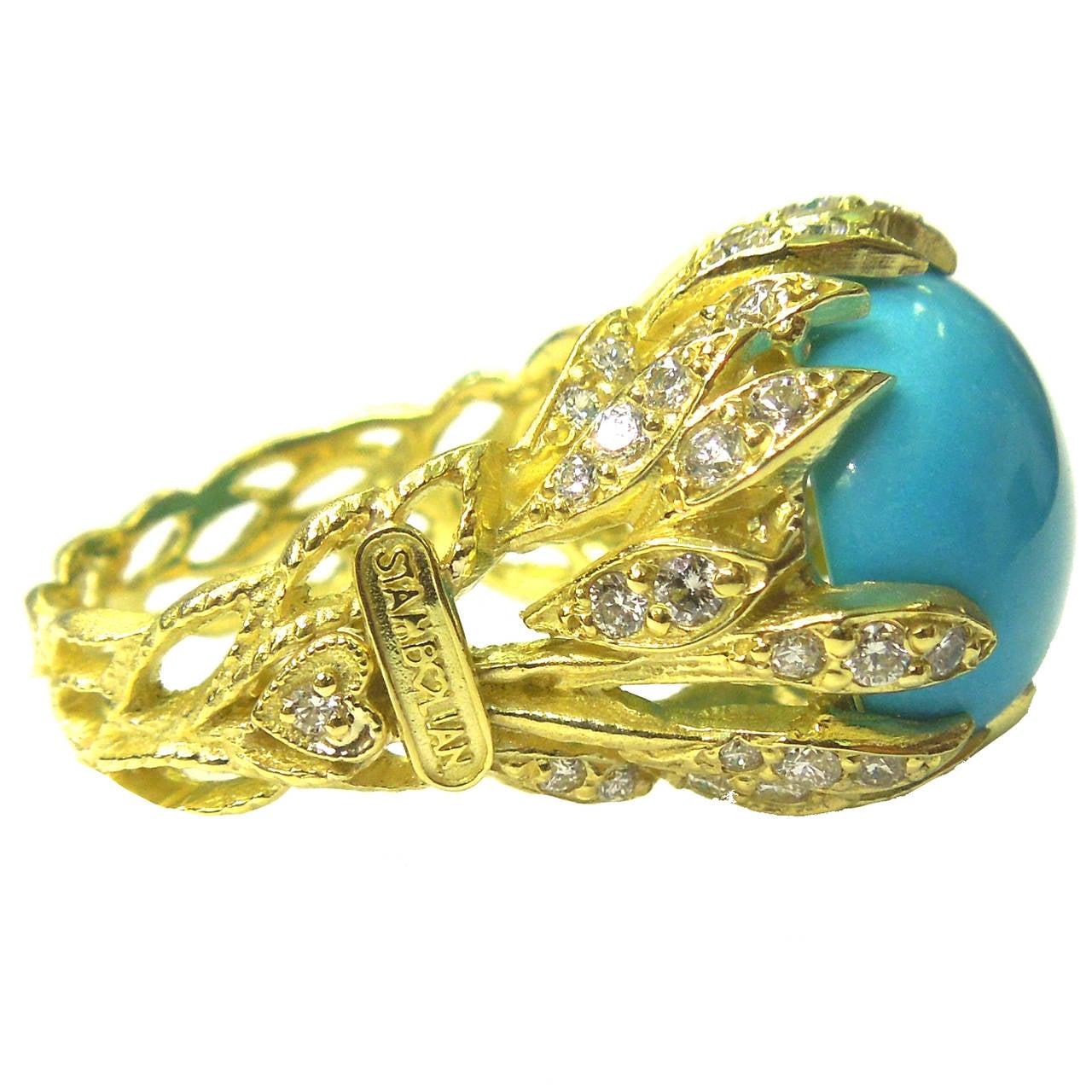 Sleeping Beauty Turquoise Diamond Gold Ring 3