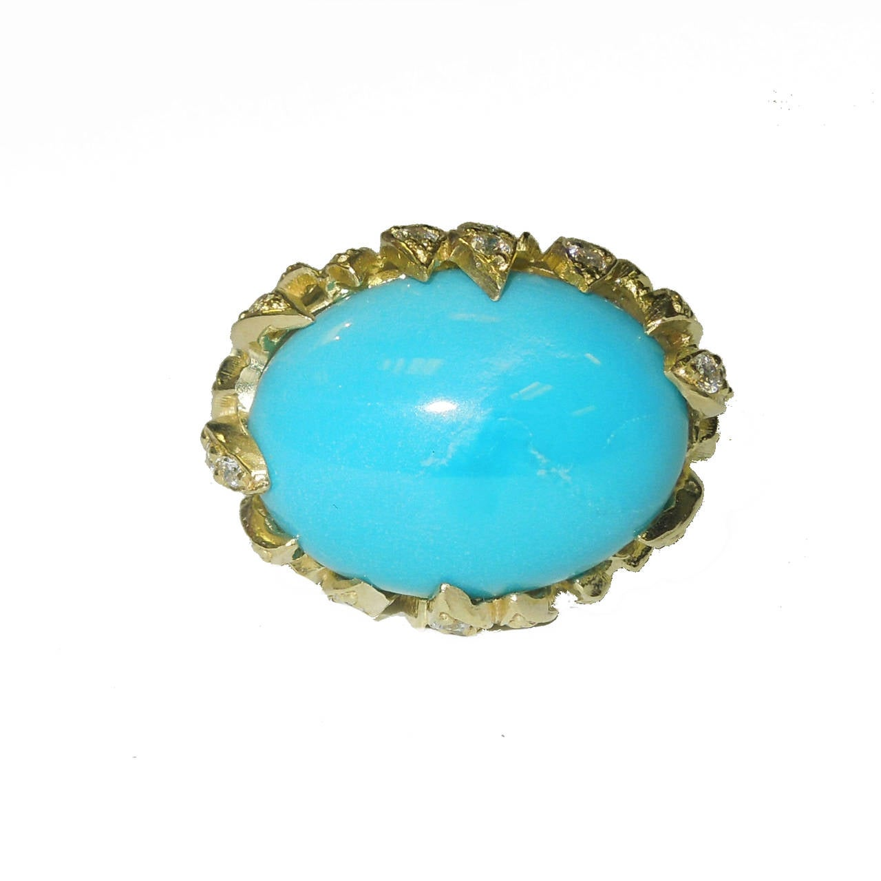 Sleeping Beauty Turquoise Diamond Gold Ring 2