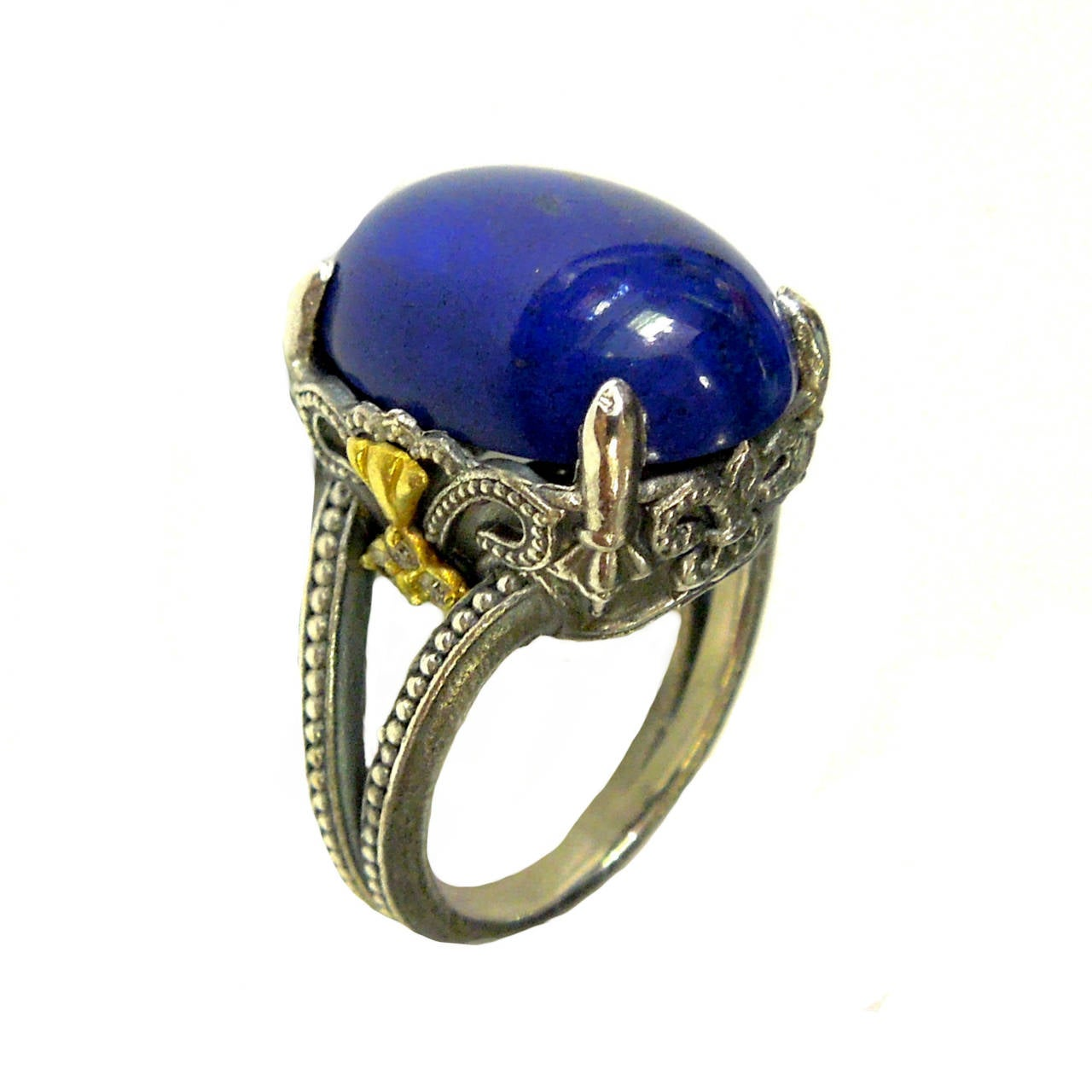 Stambolian Silver Gold Lapis Ring At 1stdibs