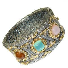 Stambolian Chalcedony Silver Gold Bangle Bracelet