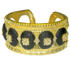 Stambolian Black Onyx Diamond Gold Bangle Bracelet
