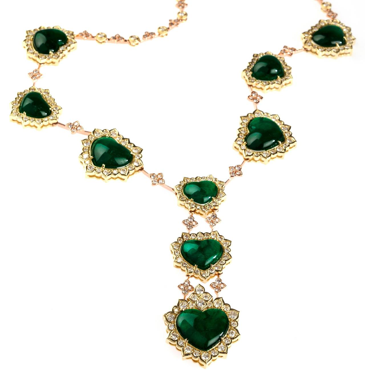 Stambolian Emerald Diamond Gold Necklace For Sale at 1stdibs
