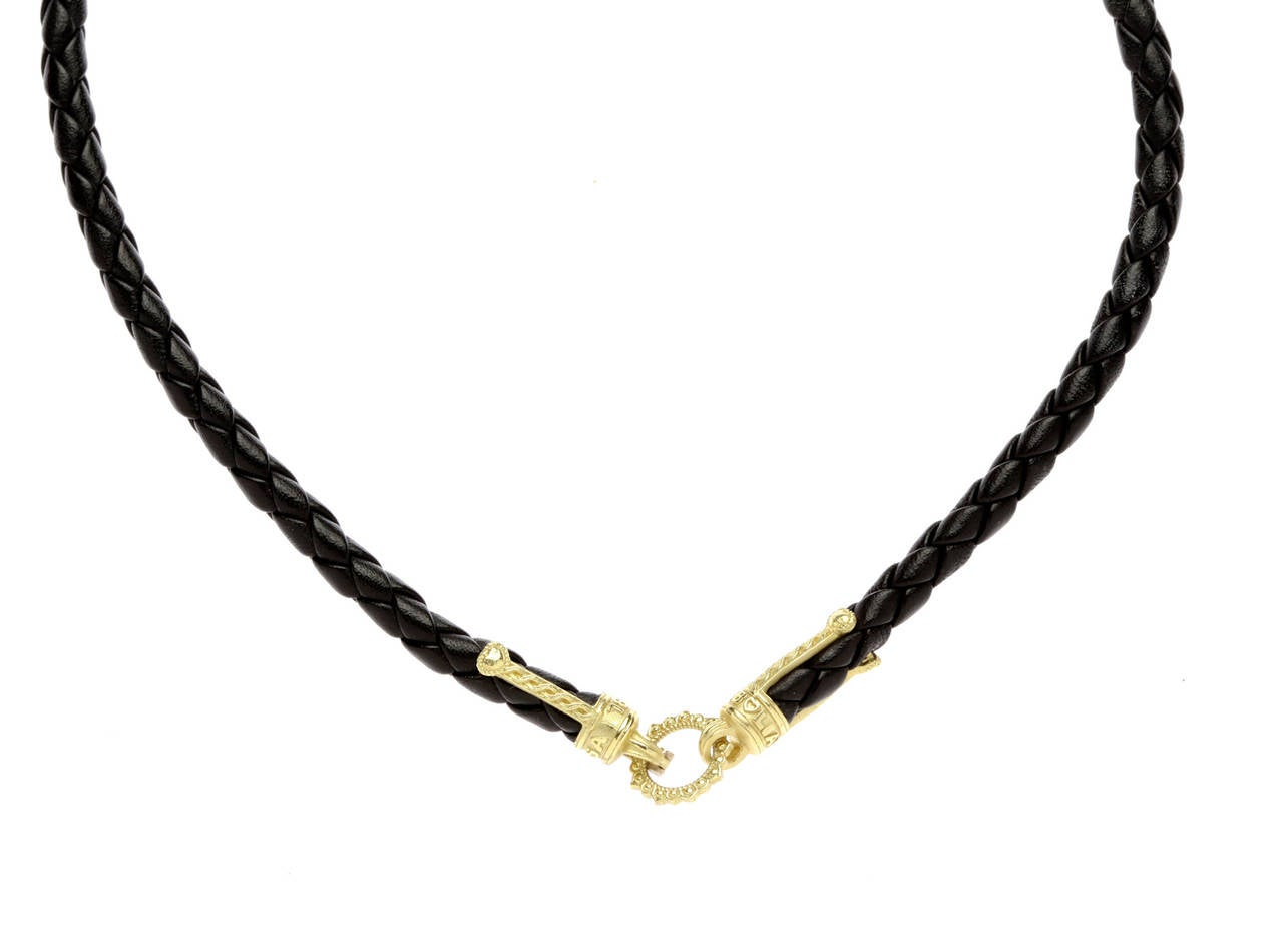Stambolian frosted onyx gold pendant black leather necklace for sale stambolian frosted onyx gold pendant black leather necklace in as new condition for sale in boca aloadofball Images