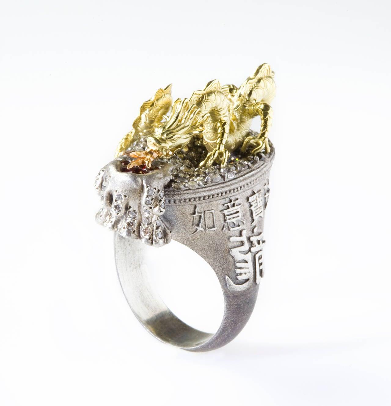 Stambolian Dragon Diamond Silver Gold Ring 2