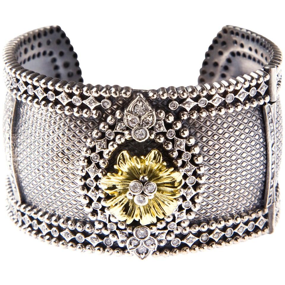 Stambolian Silver Diamond Gold Bangle Bracelet