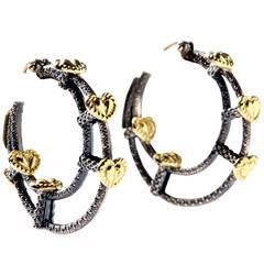 Stambolian Silver Gold Hoop Earrings
