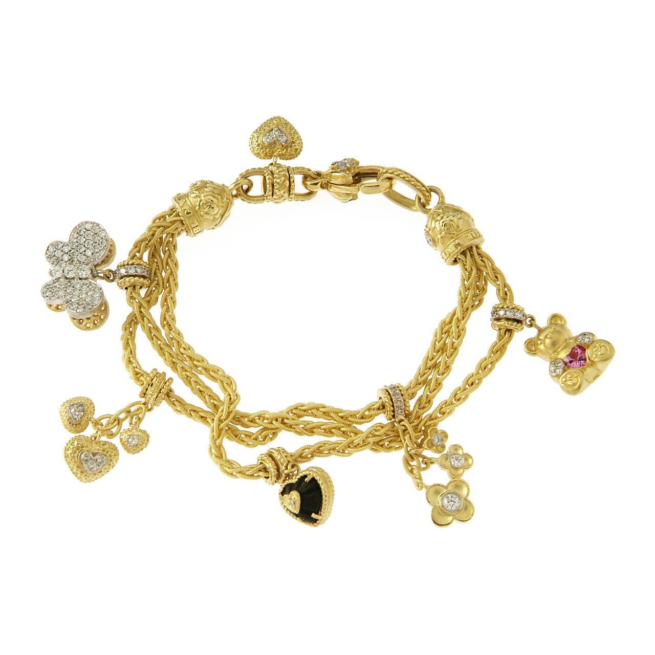 diamond gold charm bracelet at 1stdibs