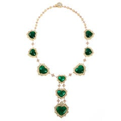 Stambolian Emerald Diamond Gold Necklace