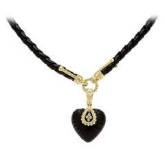 Stambolian Frosted Onyx Gold Pendant Black Leather Necklace