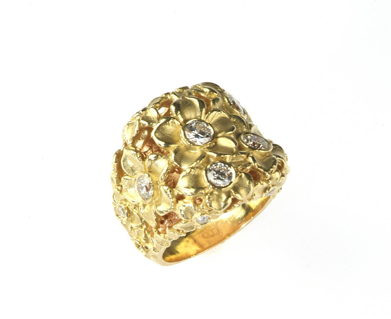 Diamond Gold Flower Ring at 1stdibs