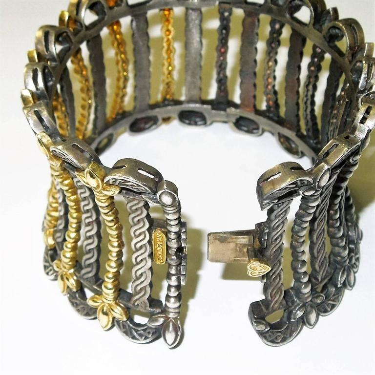 Stambolian Silver Gold Cleopatra Cuff Bracelet At 1stdibs