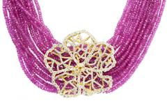 Stambolian Pink Sapphire Bead and Diamond Gold Hibiscus Necklace