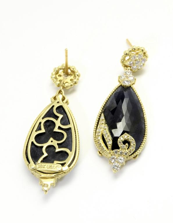 Stambolian Blue Sapphire Diamond Gold Drop Earrings 2