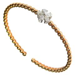 Pear Shaped Diamond Cluster Pink Gold Bracelet