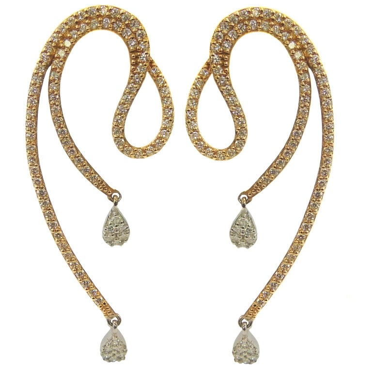 Diamond Pink Gold Drop Earrings