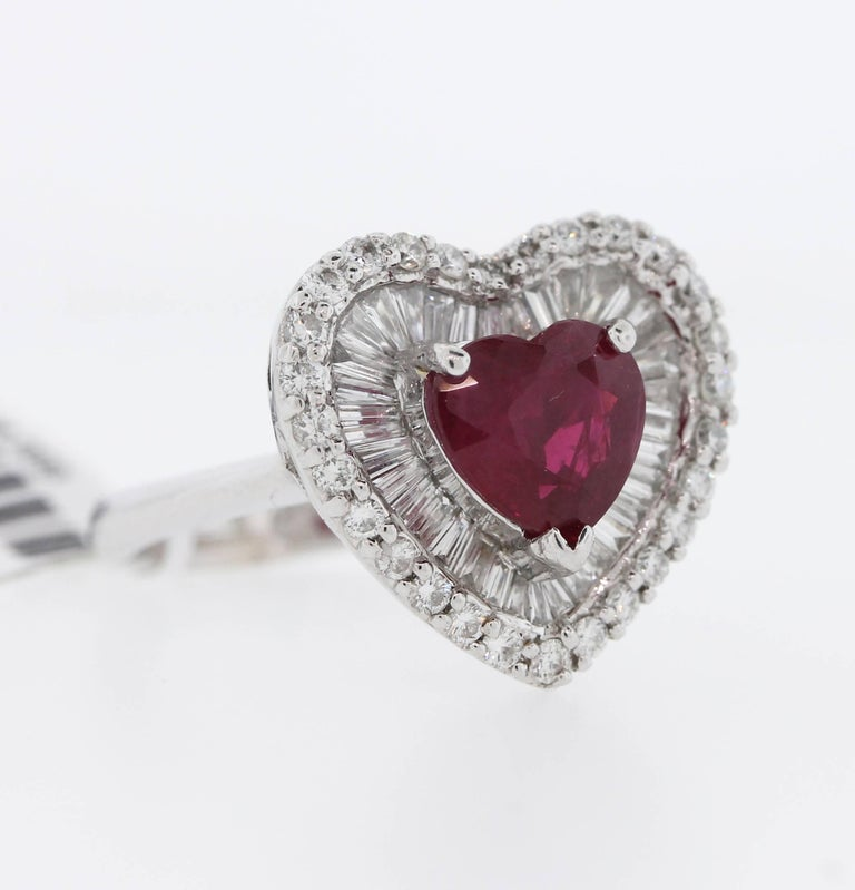 GIA Certified 2 57 Carat Burma Heart Shape Ruby Diamond Platinum Ring For Sal
