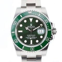 Rolex Stainless Steel Submariner Green Dial Hulk Wristwatch Ref 116610LV
