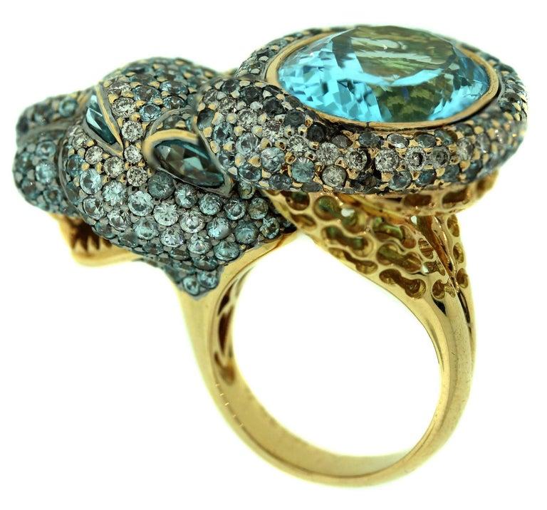 Women's Zorab Aqumarine Sapphire Diamond Gold Ring For Sale
