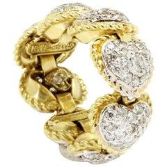 Stambolian Diamond Gold Flexible Heart Band Ring