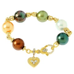 Stambolian South Sea Pearl Diamond Gold Bracelet with Dangling Heart