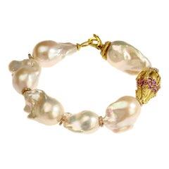 Stambolian Baroque Pearl Pink Sapphire Rondel Gold Bracelet