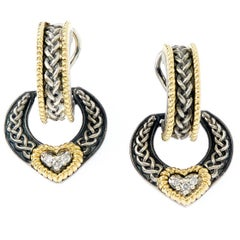 Stambolian Silver Gold Diamond Heart Earrings