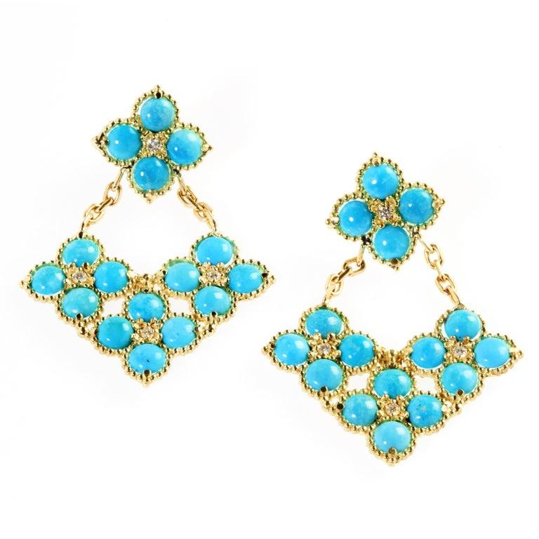 Stambolian Sleeping Beauty Turquoise Gold Drop Earrings