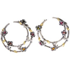 Sterling Silver Hoop Earrings with Gold and Tourmaline Stambolian