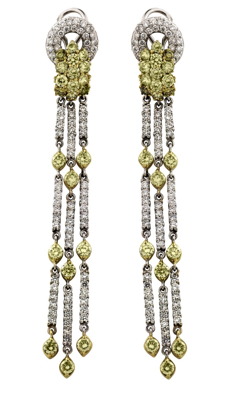 Women's Green Yellow and White Diamond Two-Tone Yellow White Gold Chandelier Earrings For Sale