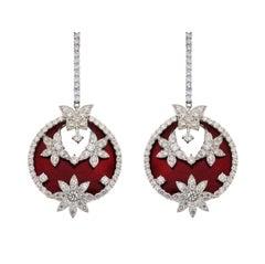 Stambolian Red Enamel Floral and Butterfly Diamond Drop Earrings