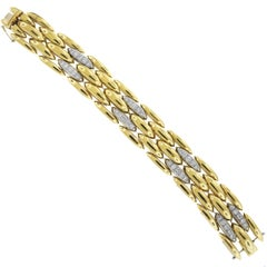 Yellow Gold and Diamond Link Chain Bracelet