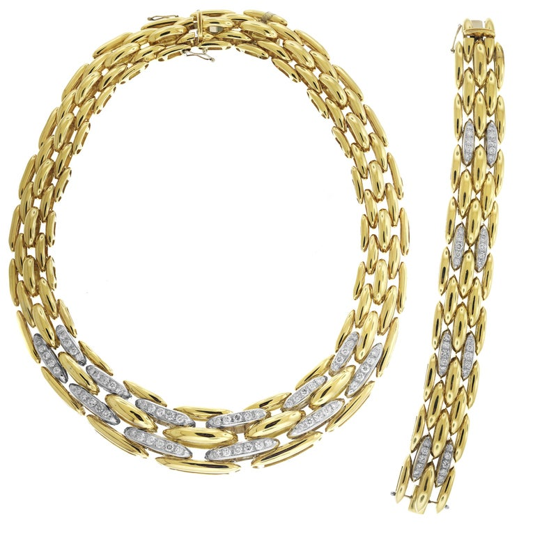 Yellow Gold And Diamond Link Chain Bracelet Necklace Set For