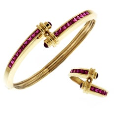 Yellow Gold and Ruby Crossover Bracelet Ring Set